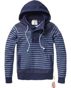 Loose hooded indigo sweater - Sweaters - Scotch & Soda Online Shop