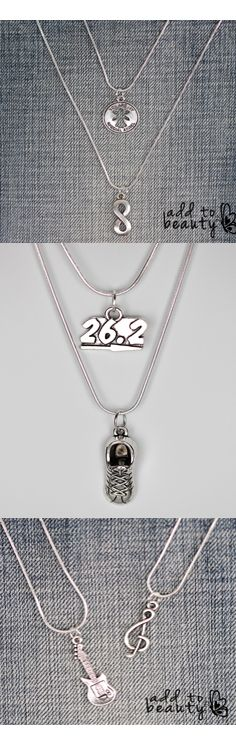 Interchangeable Layered Necklaces!  Choose 6 charms or chains (or a combo of both) from our site FREE with coupon: 6FORFREE when you cover ten bucks shipping. Coupon expires 7/31/15. See all your silver plated chain and charm options here: http://www.addtobeauty.com/6forfree/
