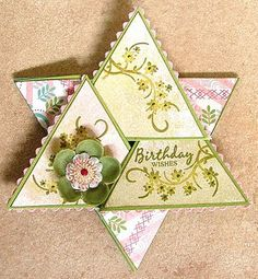 As per request I'm sharing a star fold card template. Once you know how to make it you can decorate as you like. Take a 12x12 c...