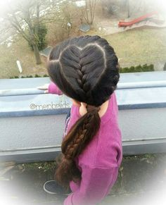 Heart parting and frenchbraid