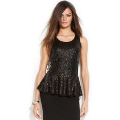 INC Sleeveless Sequin Peplum Top INC takes its peplum top to the next level of glam with a coating of shimmering sequins. Dress it up with a classic pencil skirt or down with your favorite jeans. Machine washable. Imported. Scoop neckline. Keyhole and button closure at back. Sleeveless. Sequins at front and peplum; knit back. Fitted silhouette. Unlined. Hits at hip. INC International Concepts Tops Tank Tops