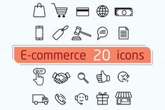 E-commerce and shopping icons by Leone_v on Creative Market