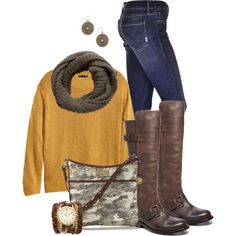 """Cozy brown and gold"" by marnifox on Polyvore"