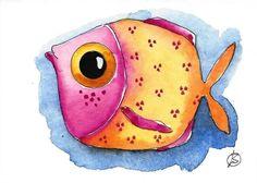 ACEO Original watercolor art painting whimsical fish art Orange Fish #IllustrationArt