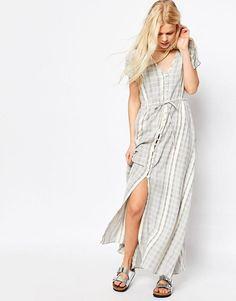 ASOS | ASOS Stripe Maxi Dress in Natural Fibre at ASOS