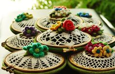 Pincushions made with vintage doilies by woolly  fabulous, via Flickr