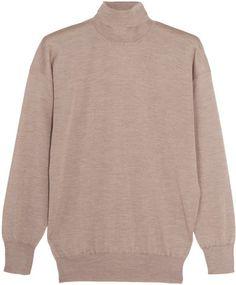 Tom Ford Cashmere And Silk-blend Turtleneck Sweater Beige Sweater, Men Sweater, Tom Ford Jeans, Ribbed Turtleneck, Top Designer Brands, Fashion Online, Knitwear, What To Wear, Cashmere