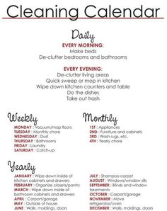 Cleaning your house schedule. I might start using this.