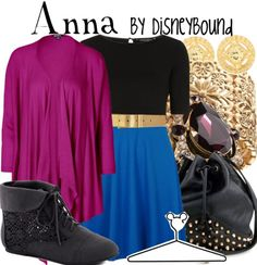 Anna by DisneyBound. I already LOVE Anna, mostly because she's voiced by KBell and seems like a normal gal. <3
