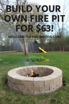 Build your own fire pit with this step by step video tutorial. I love how easy and inexpensive this is! Learn to build your own fire pit an easy and inexpensive way! This video and photo tutorial is extremely thorough and full of great tips. Easy Fire Pit, Cool Fire Pits, Cheap Fire Pit, Porches, Outdoor Grill, Outdoor Fire Pits, Fire Pit Plans, Fire Pit Kits, Outside Fire Pits