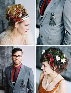 flowers in her hair Groom Attire, Groom And Groomsmen, Shakespeare Wedding, Modern Groom, Grey Ribbon, Yellow Daisies, David Tutera, Green Wedding Shoes, Boutonnieres