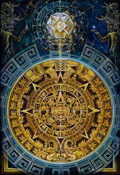 The Mayan Calendar consist of three similar calendars known as the Long count, The Tzolkin (divine calendar), and the Haab (civil calendar). Ancient Aliens, Ancient Art, Aztec Drawing, Aztecas Art, Mexican Artwork, Aztec Culture, Aztec Warrior, Psy Art, Chicano Art