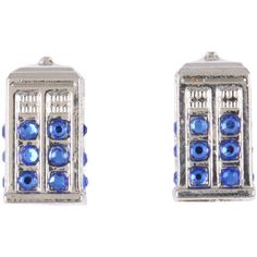 Hot Topic Doctor Who TARDIS Bling Earrings (£3.99) ❤ liked on Polyvore featuring jewelry, earrings, doctor who, black, gem jewelry, gemstone jewelry, earring jewelry, gemstone earrings and gem earrings