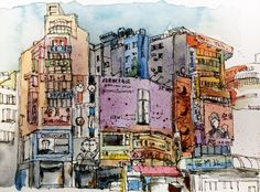 Ximending, Taipei City Travel Sketchbook, Building Sketch, Urban Sketching, Cubism, Taipei, Art Quotes, Facade, Scenery, Sketches