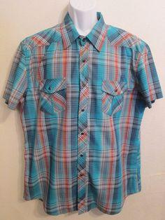 Rock & Roll Cowboy Western Snap Front Short Sleeve Thin Shirt Men's Size XL  | eBay