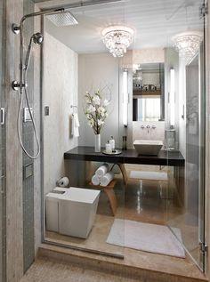 40 Stylish and functional small bathroom design ideas http://www.onekindesign.com/2014/06/27/40-stylish-functional-small-bathroom-design-ideas/ Posición de los muebles.