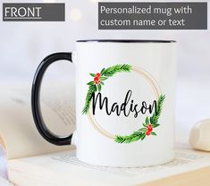 Christmas wreath mug with personalized name. Christmas Names, Christmas Coffee, Christmas Wreaths, Christmas Gifts, Merry Christmas, Personalized Graduation Gifts, Graduation Gifts For Her, Personalized Mugs, Funny Office Gifts