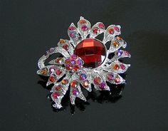 VINTAGE SILVER RED DIAMANTE FLORAL CRYSTAL BROOCH, £4.99
