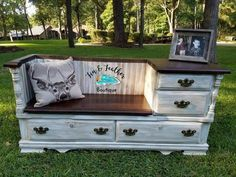 Items similar to Dresser Bench/Entry Table on Etsy - Diy Möbel Refurbished Furniture, Repurposed Furniture, New Furniture, Furniture Projects, Dresser Repurposed, Furniture Websites, Furniture Dolly, Coaster Furniture, Furniture Companies
