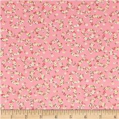 Kaufman Sevenberry Petite Fleurs Flower Circle Pink