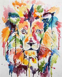 Wild Lion Giclee Print of an original Kristin by KristinDouglasART