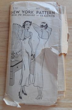 New York Pattern 171-Full Slip Size 38 Pattern-Unprinted Complete with Instructions  Size 38 Ladies and Misses Bias Slip-3 Pieces Unprinted,