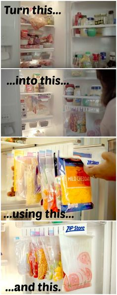 Zip n Store is a revolutionary food storage system that uses ziplock bags and simplifies the way you store, organize and find your food.