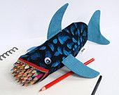 Shark Bag - Zipper Pencil Case.