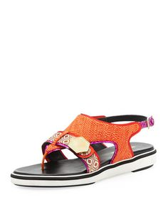Flat Rubber-Sole Mixed-Fabric Sandal, Orange by Nicholas Kirkwood at Bergdorf Goodman.