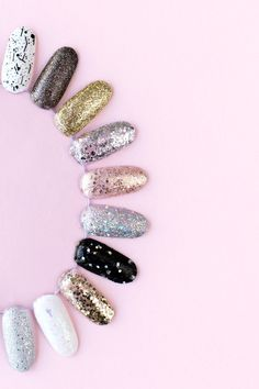 How To Remove Glitter Nail Polish (+ Our 30 Favorite Glitter Polishes!) - Studio DIY - How To Remove Glitter Nail Polish (+ Our 30 Favorite Glitter Polishes! Wedding Day Nails, Oriflame Beauty Products, Nail Salon Design, Nail Logo, Glitter Nail Polish, Nail Polishes, Beauty Background, Cosmetic Shop, Cute Girl Wallpaper