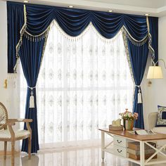 Twynam Blue and Green Waterfall and Swag Valance and Sheers Custom Made Chenille Velvet Curtains Pair. one pair velvet curtains and one pair sheers and one panel velvet valance. Royal Blue Curtains, Blue Velvet Curtains, Velvet Bedroom, White Curtains, Valence Curtains, Swag Curtains, Cheap Curtains, Farmhouse Curtains, Colors