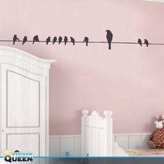 Muursticker Vogels op een draadje