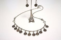 Silver Medallion Necklace Set with Earrings Made in by LinksLocks, $30.00
