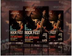 Buy Live Rock Fest Flyer by on GraphicRiver. Live rock Fest flyer template or poster template designed to promote any kind of event, concert, festival, party or w. Free Psd Flyer, Free Flyer Templates, Event Flyer Templates, Music Flyer, Concert Flyer, Free Christmas Flyer Templates, Brochure Cover Design, Club Flyers, Creative Brochure
