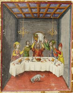 Raising of the Passover Seder Basket - Giovanni di Giuliano Boccardi - 15th century machzor from Tuscany