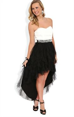 Strapless High Low Prom Dress with Mesh Bodice and Tendril Skirt - 400004289362 - DebShops.com
