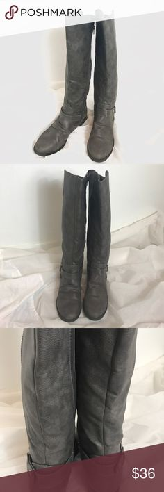 Dark Gray Boots with Belt Buckle Accents Great pre-loved condition. No damage. Soft insoles. Rampage Shoes Winter & Rain Boots