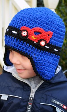 Crochet - RACE CAR HAT with earflaps - I have to try to figure out that race car!....PINNED TO CROCHET FOR BOYS...Kerry