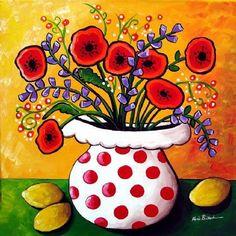 Amapolas rojas en lunares flores divertidos Whimsical arte Giclee PRINT