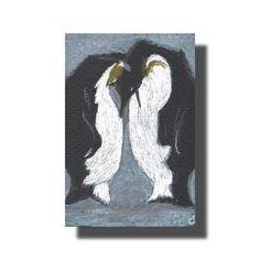 #ACEO TW DEC #Penguins #Birds #Snow Colored Pencil Original Buckman #Traditional