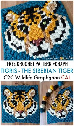 This imposing tiger c2c square design is the 5.th animal square of the Wildlife Graphghan CAL. Get the free crochet pattern with row by row instructions and graph on My Hobby is Crochet blog.     ..#crochet #freepattern #c2ccrochet #pixelcrochet #cornertocornercrochet #wildlifegraphghan