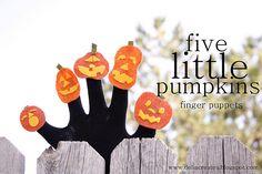 five little pumpkin finger puppets
