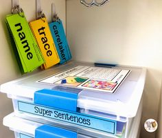 Word Work bins- each has pictorial directions
