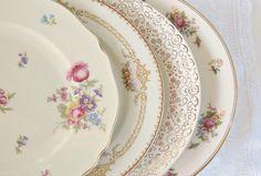 Mismatched Dinner Plates for Weddings Set of by RosebudsOriginals