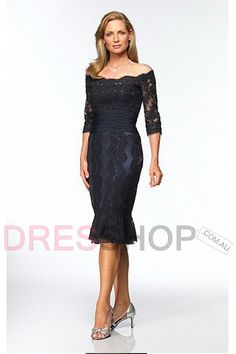 Dark Navy Applique 1/2 Sleeves Tea-length Short Lace Mother Of The Bride Dresses