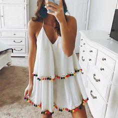 Mode-Stil V Kragen Urlaub Quaste Minikleid - Summer Outfits, Cute Outfits, Summer Dresses, Winter Dresses, Look Fashion, Fashion Outfits, Fashion Trends, Dress Fashion, Fashion Men