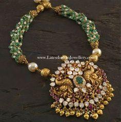 emerald pearl beads nakshi peacock pendant