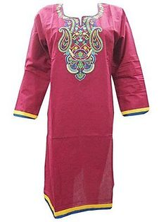 WOMEN-ETHNIC-COTTON-TUNIC-PINK-EMBROIDERED-FALL-FASHION-INDIAN-KURTI-DRESS-S  http://stores.ebay.com/mogulgallery