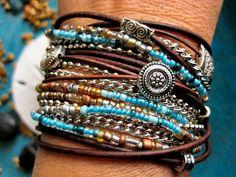 Boho Chic Endless Leather Wrap Beaded Bracelet ~~~