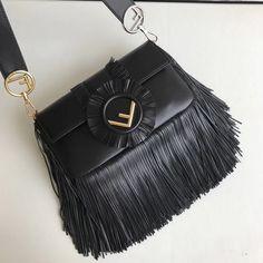 98eb854966e3 Fendi Fringed Baguette Bag in Nappa Leather Black F W 2017 Crossbody Bag